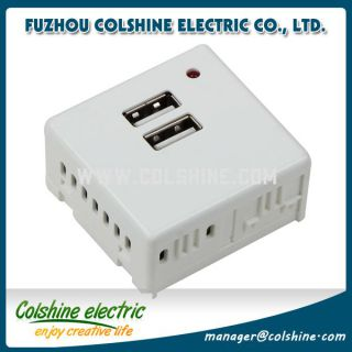 Italian style wall socket with 2USB port