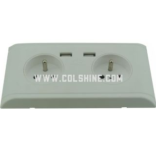French wall socket with USB charger